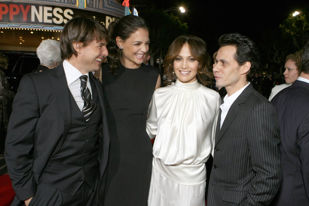 Tom Cruise and Katie Holmes got fun and friendly with pals Jennifer Lopez and Marc Anthony in December 2006.