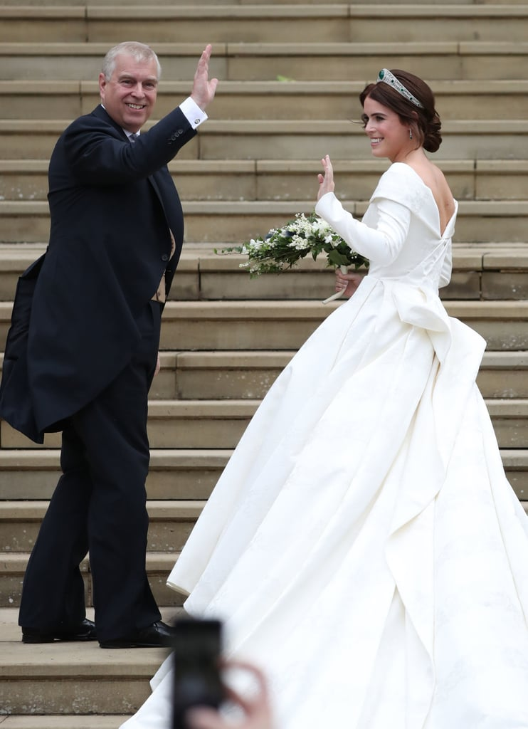 "Prince Andrew and Sarah Ferguson were front and centre at Princess Eugenie's wedding to Jack Brooksbank at St. George's Chapel in Windsor, England on Oct. 12. Despite the fact that Andrew and Sarah are no longer together, the proud parents maintained a united front as they watched their daughter tie the knot inside the chapel. Andrew had the honour of walking Eugenie down the aisle, and was all smiles as he gave a wave to the crowd on the steps.  Andrew and Sarah were married for nearly 10 years before they divorced in 1996; however, they've remained friends and coparents to Eugenie and Princess Beatrice since their split. Eugenie has even said that her parents are ""the best divorced couple,"" adding that she doesn't ""remember much of the divorce happening"" because ""they just always went out of their way to make us feel loved and secure."" Ahead, see Eugenie's sweetest moments with her dad as he walked her down the aisle."