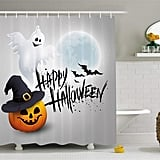 Cute Ghost Pumpkin Hat Print Halloween Shower Curtain