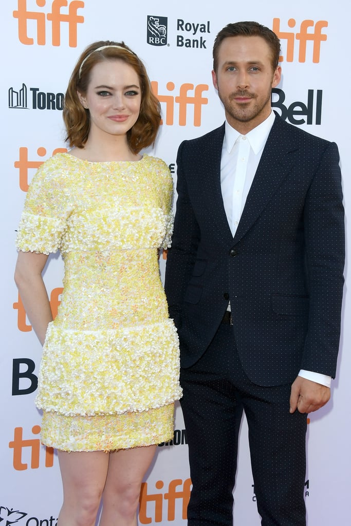 Emma Stone and Ryan Gosling made a gorgeous appearance at the Toronto International Film Festival premiere of their new movie La La Land on Monday. The stars made their way down the red carpet separately, but stopped to pose for pictures together before heading inside the theater. In the musical, Ryan and Emma play love interests whose relationship goes through ups and downs as they struggle to make it in Hollywood. Of course, this isn't the first time Ryan and Emma have appeared in a movie together. In 2011, the pair partnered up for Crazy, Stupid Love, and two years later, they reunited in Gangster Squad.       Related:                                                                Emma Stone and Ryan Gosling Are the Perfect Pair in La La Land's Gorgeous Trailer                                                                   Every Hot Ryan Gosling Picture From His Movies                                                                   The 31 Best Emma Stone Movie Moments