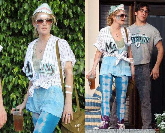 Photos of Drew Barrymore in Head-to-Toe Marlins Gear With Justin Long in Miami