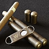 The cigar case and cutter set ($20) includes a double cigar holder and a cool, masculine cutter.