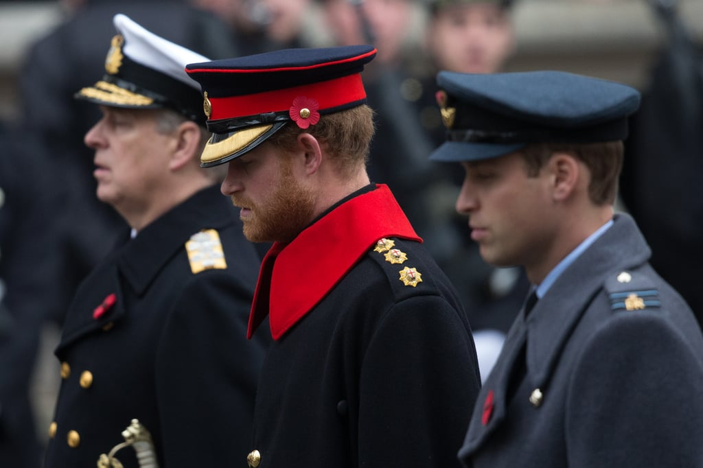 Prince Harry and Prince William attended the annual Remembrance Day service at the Cenotaph war memorial in London on Sunday. Harry and William donned their regiment uniforms along with red poppies on their lapels in memory of fallen soldiers and participated in a commemorative wreath-laying ceremony. Queen Elizabeth II also paid her respects while the Duchess of Cambridge and Queen Maxima of the Netherlands looked on from a balcony.   The Duke and Duchess of Cambridge made an appearance at the British Legion's Festival of Remembrance at the Royal Albert Hall just a day before. The royal couple were joined by Queen Elizabeth II, Prince Philip, and the Duke of York. Read on for more of the special day, and then check out the best pictures of the British royals in 2015.