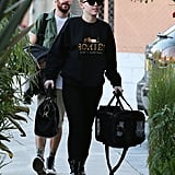 Miley Cyrus went to a LA recording studio with her new puppy named Bean.