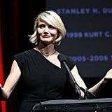 Cameron Diaz said a few words honoring Jeffrey Katzenberg at a dinner at CinemaCon in Las Vegas.