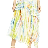 Tanya Taylor Tie Dye Handkerchief Hem Silk & Cotton Skirt