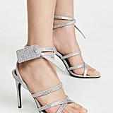 Off-White Crystal Satin Zip-Tie Sandals