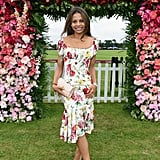 Fabulous in florals under the Cartier flower arch at Queen's Cup Polo in June 2018.