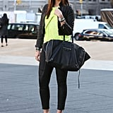 A pop of neon on her knit juxtaposed an edgier mix.