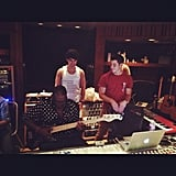 Randy Jackson hung out in the recording studio with the Jonas Brothers. Source: Instagram user yo_randyjackson