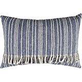 Fringed Blue Denim Decorative Pillow