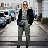 Go For a Utilitarian Look in a Green Jumpsuit