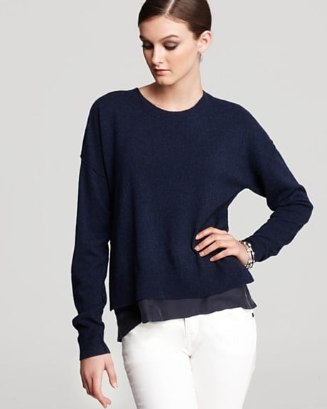 A hint of a silky hem peeking out from under this essential pullover gives it a touch of luxury that's still basic enough to pull on with trousers and denim.  Rebecca Taylor Sweater Jersey Combo ($350)