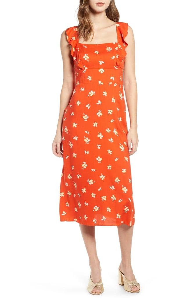 Leith Ruffle Front Square-Neck Midi Dress