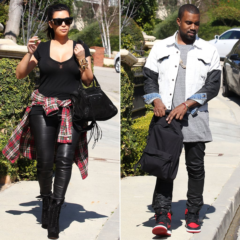 Kim and Kanye Match in Leather For an LA Outing With Her Mom