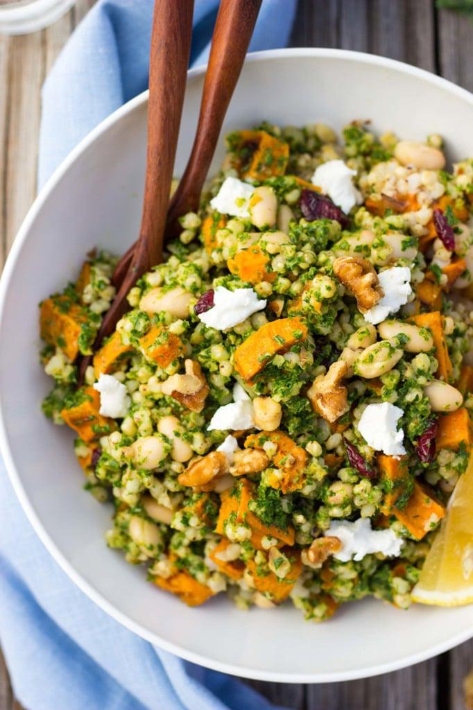 Sorghum, Sweet Potato, and White Bean Salad With Kale Pesto