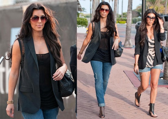 Photos of Kim and Kourtney Kardashian Together Wearing Denim and Black in Miami