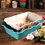 Flea Market Two-Piece Decorated Rectangular Ruffle Top Ceramic Bakeware Set