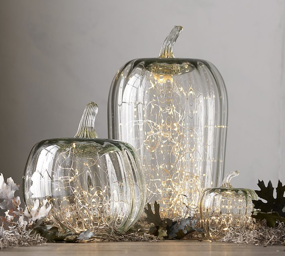 recycled glass pumpkin candle cloches pottery barn halloween collection 2017 popsugar home photo 1