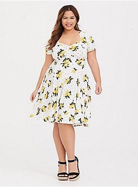 Torrid White Lemon Dot Challis Skater Dress