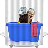 Blue Bathtub Cats Shower Curtain