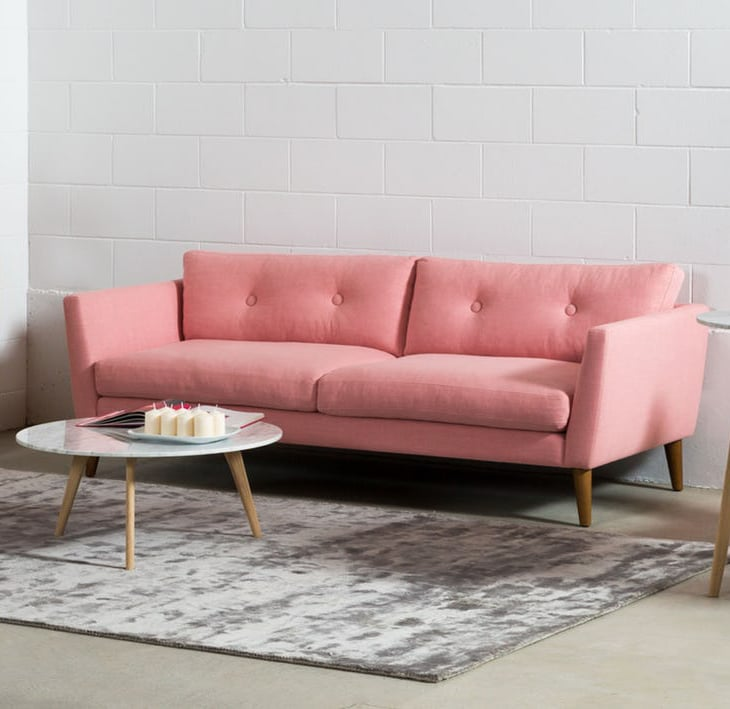 Emil Quartz Rose and Honey Walnut Sofa | Best Pink Couches ...