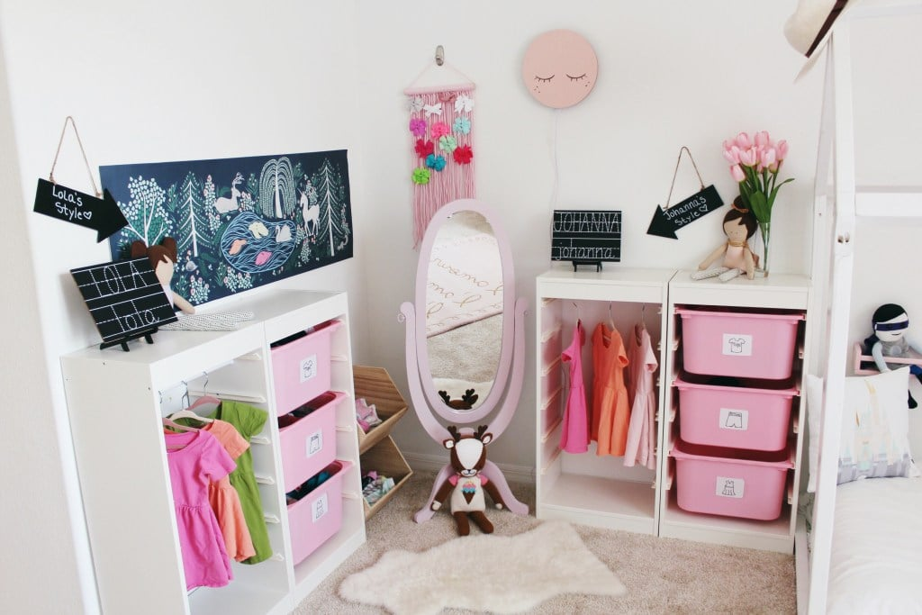 To finish off your space, add a hamper for dirty clothes and a mirror so they can check out their outfit choices!