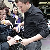 Channing Tatum talked with fans outside of ITV Studios in London.