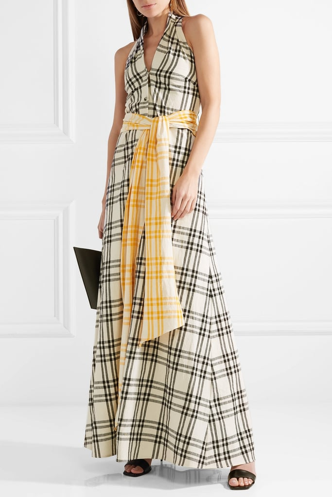 Rosie Assoulin Belted Checked Gown | Meghan Markle\'s Yellow Plaid ...