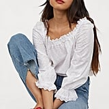 H&M Blouse With Eyelet Embroidery
