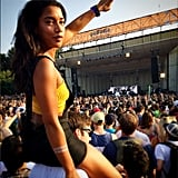 Hannah Bronfman got a little help to see Nas's performance.  Source: Instagram user hannahbronfman
