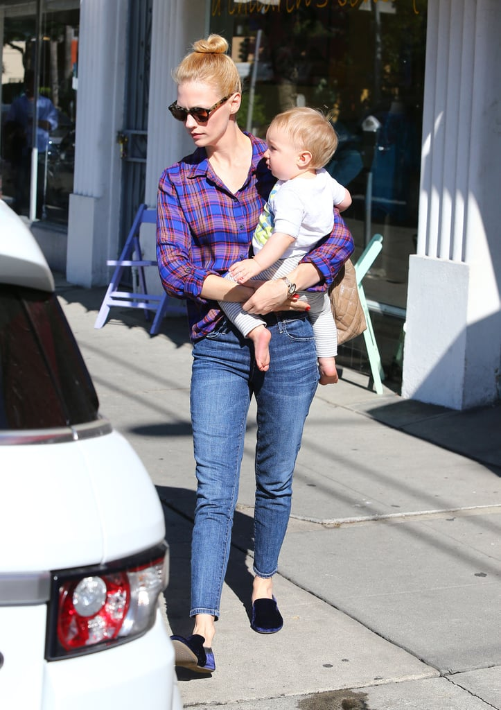 January Jones Gets a Head Start on the Holidays With Xander