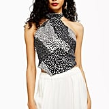 Topshop Animal Scarf Halter Neck Top