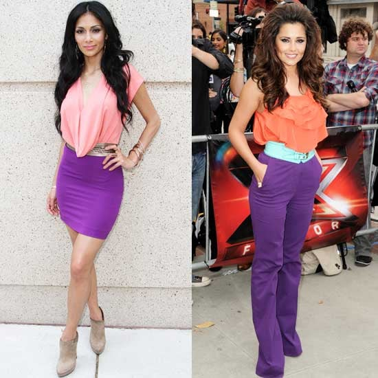 Nicole Scherzinger and Cheryl Cole Both Wear Orange and Purple for X Factor Auditions