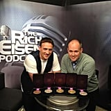 Ryan Lochte brought his Olympic medals to the set of Rich Eisen's show. Source: Twitter user ryanlochte