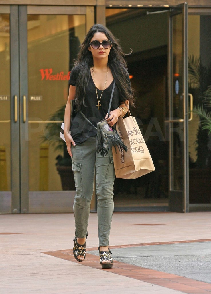 Vanessa Hudgens sported the trendy J Brand Houlihan cargos during a shopping excursion at a mall in LA. Loving the cross necklace.