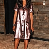 June Ambrose glowed in a shimmering metallic shift at the Ain't Them Bodies Saints afterparty.