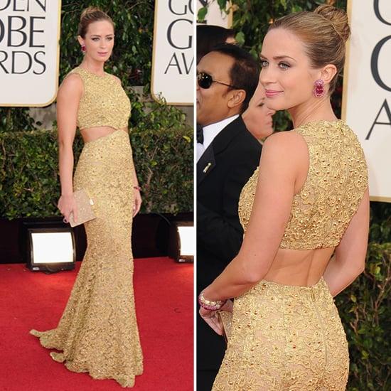 Emily Blunt in Gold Michael Kors at 2013 Golden Globes