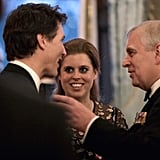 With her dad and Canadian Prime Minister Justin Trudeau at a reception at Buckingham Palace in 2018.