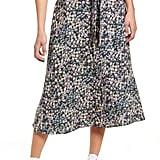 Love, Fire Tie-Waist Floral Print Midi Skirt