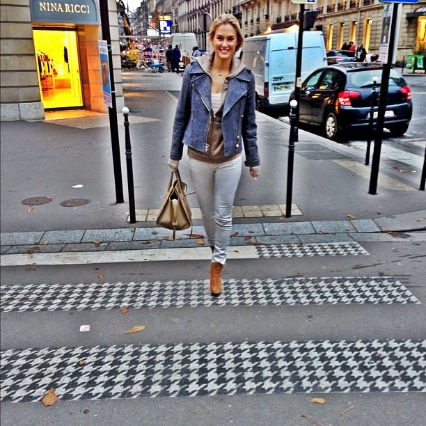 Bar Refaeli got tricky with a patterned pedestrian crossing. Source: Instagram user barrefaeli