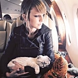 Taylor Swift held her cat during a flight.