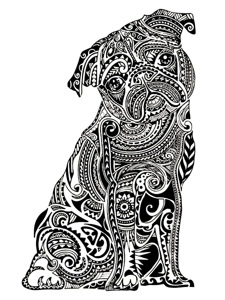Get the coloring page: Pug | Free Coloring Pages For Adults ...