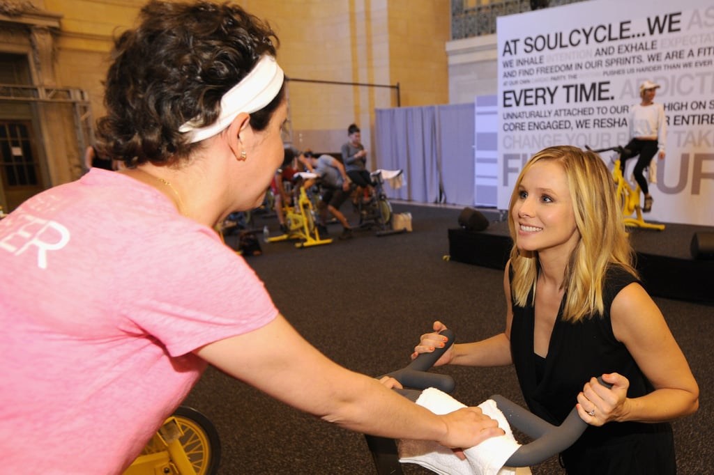 Kristen Bell took part in a SoulCycle ride at the Amex Epic EveryDay Getaway event in NYC on Friday.