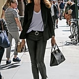 Cindy Crawford Wore a White Tee With a Blazer and Leather Pants