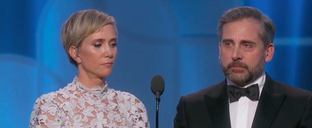 Kristen Wiig and Steve Carell at the 2017 Golden Globes