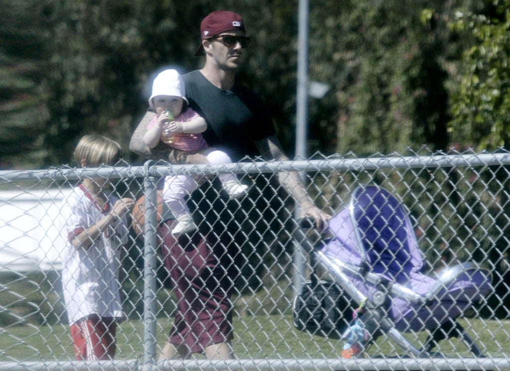 David Beckham hit an LA soccer field with Harper and Romeo.