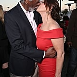 Morgan Freeman and Marcia Gay Harden Kissing at CBS Party