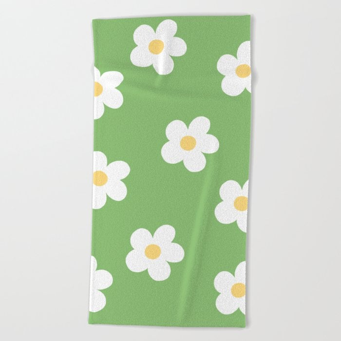 Retro 60's Flower Power Print Beach Towel by lobbygirl