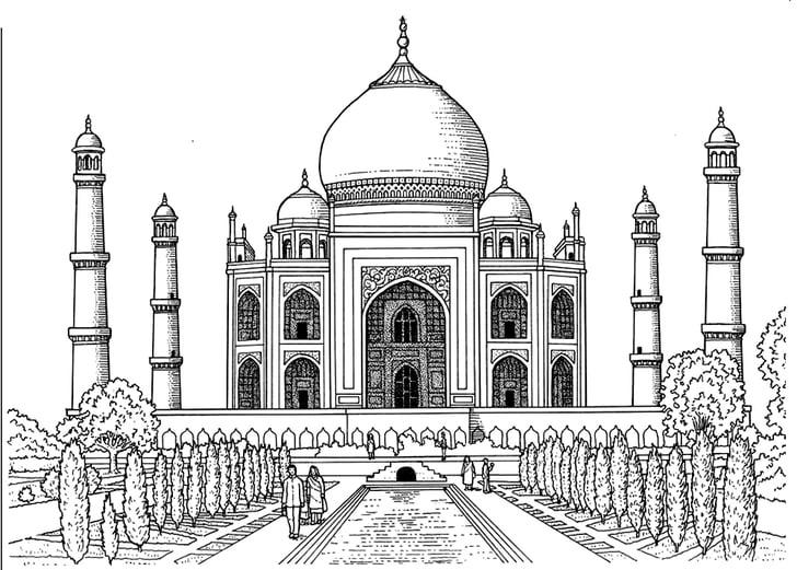 Get the coloring page Taj Mahal